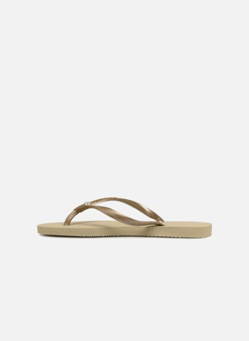 Tongs Havaianas Slim Crystal Glamour SW Or et bronze vue face