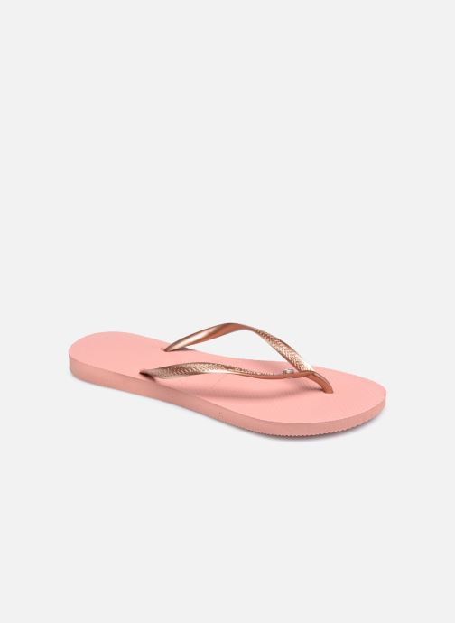 Tongs Havaianas Slim Crystal Glamour SW Rose vue détail/paire