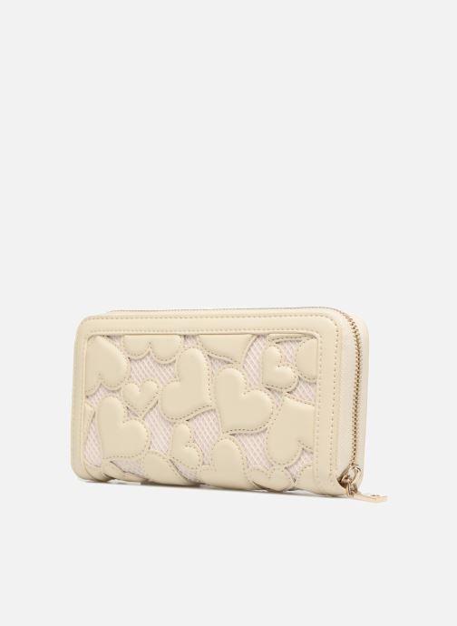 Petite Maroquinerie Love Moschino Portefeuille Love Intarsia Blanc vue droite