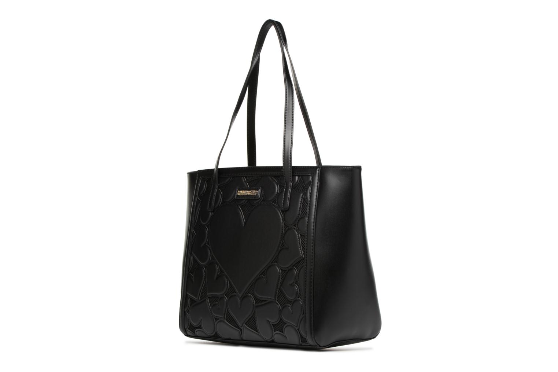 Sacs à main Love Moschino Cabas Zippé Love Intarsia Noir vue portées chaussures