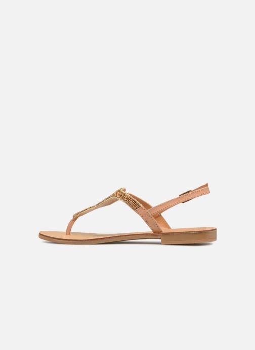 Sandalen Pieces Carmen leather sandal Beige voorkant