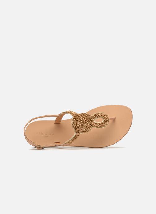 Sandalen Pieces Carmen leather sandal Beige links