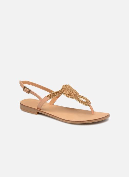 Sandalen Pieces Carmen leather sandal Beige detail