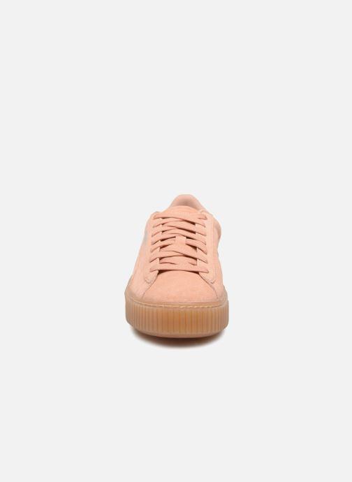 chaussures puma femme suede platform rose