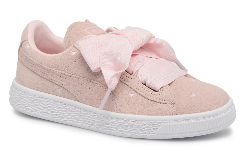 Sneakers Puma Suede Heart Valentine Rosa detaljerad bild på paret