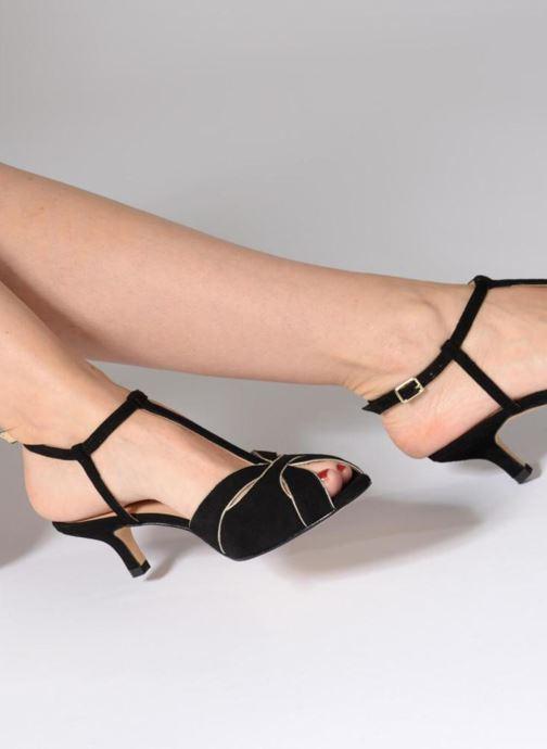 Sandales et nu-pieds Georgia Rose Etcera Noir vue bas / vue portée sac