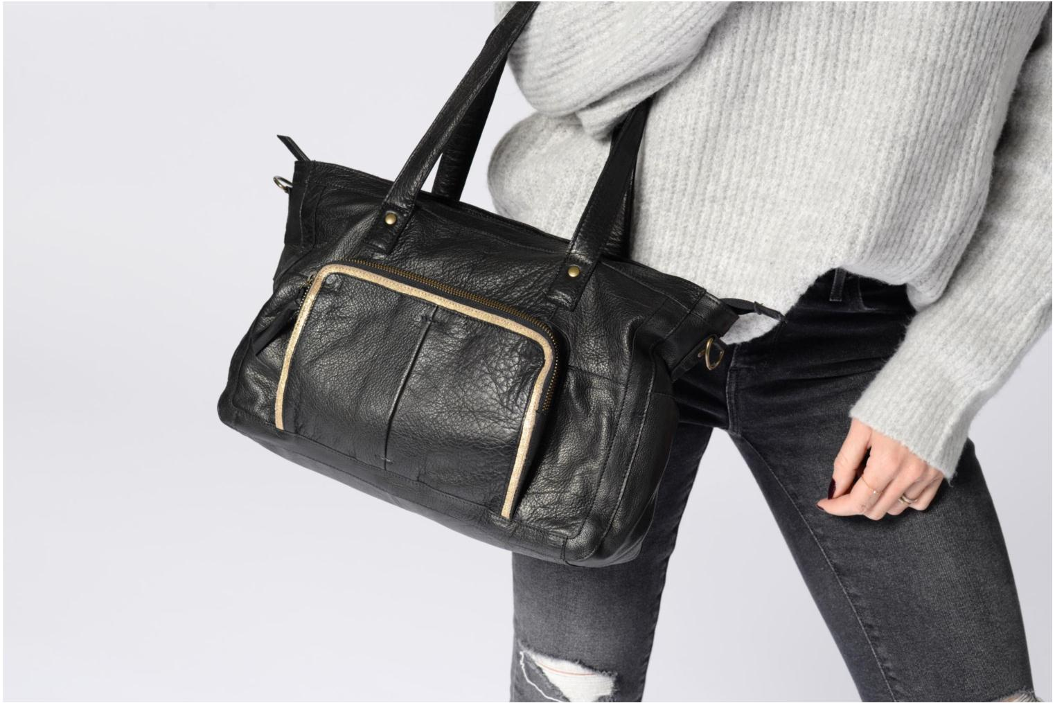 Inda Leather Pieces Bag Black Shoulder d4xfROnwx