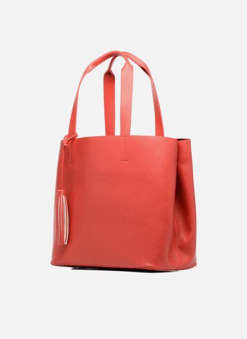 Handtaschen Pieces Illu Shopper rot schuhe getragen
