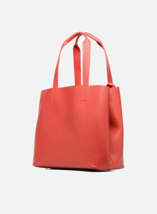 Handtaschen Pieces Illu Shopper rot ansicht von rechts