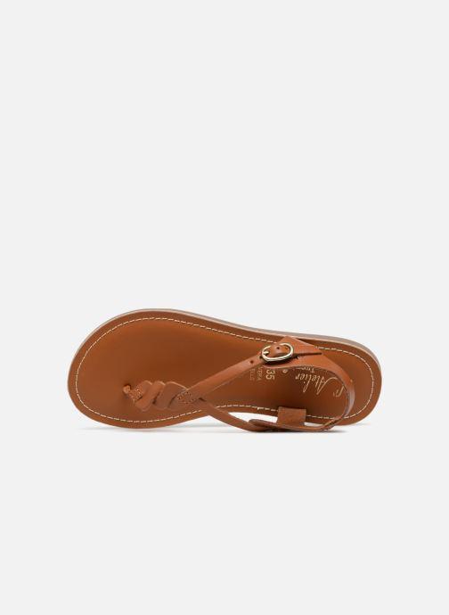Sandales et nu-pieds L'Atelier Tropézien Sarah Marron vue gauche