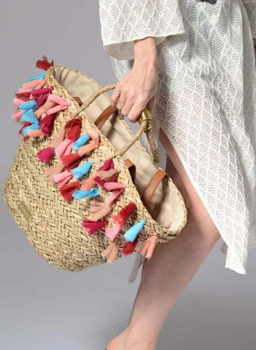 Handbags Gioseppo Panier Double anse pompom Beige view from underneath / model view