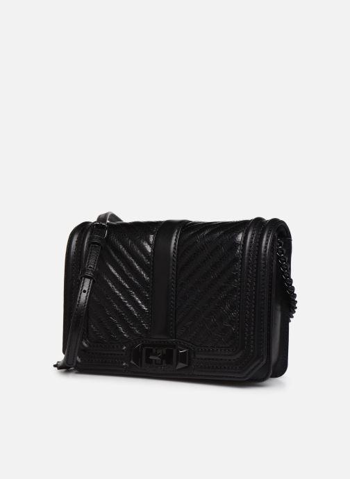 Handtaschen Rebecca Minkoff Chevron Quilted Small Love Crossbody schwarz schuhe getragen