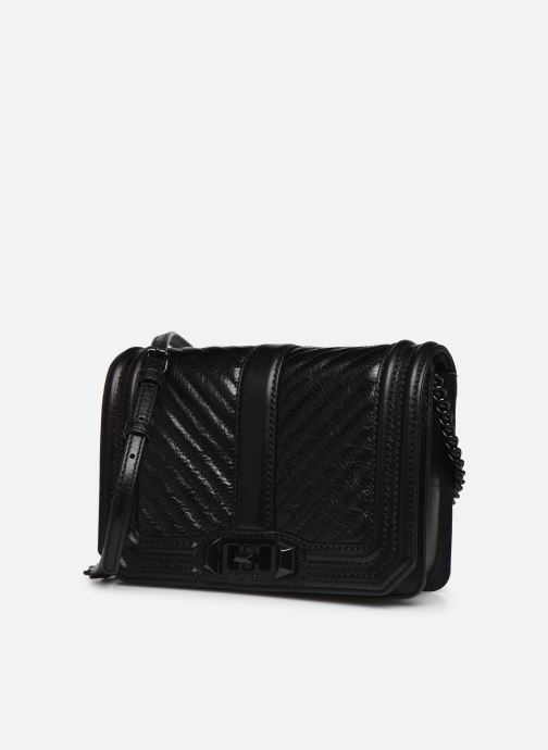 Sacs à main Rebecca Minkoff Chevron Quilted Small Love Crossbody Noir vue portées chaussures
