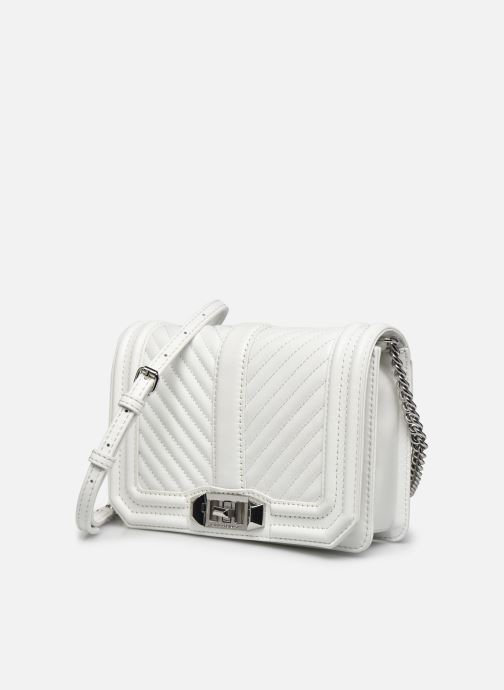 Sacs à main Rebecca Minkoff Chevron Quilted Small Love Crossbody Blanc vue portées chaussures
