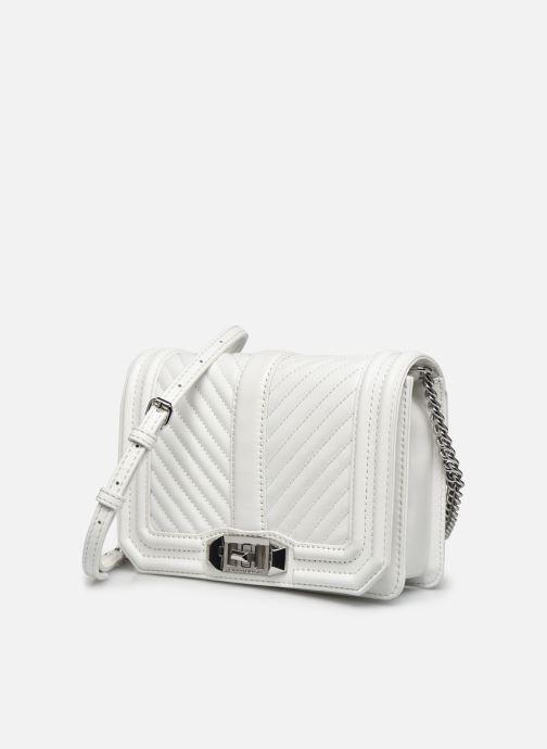 Bolsos de mano Rebecca Minkoff Chevron Quilted Small Love Crossbody Blanco vista del modelo