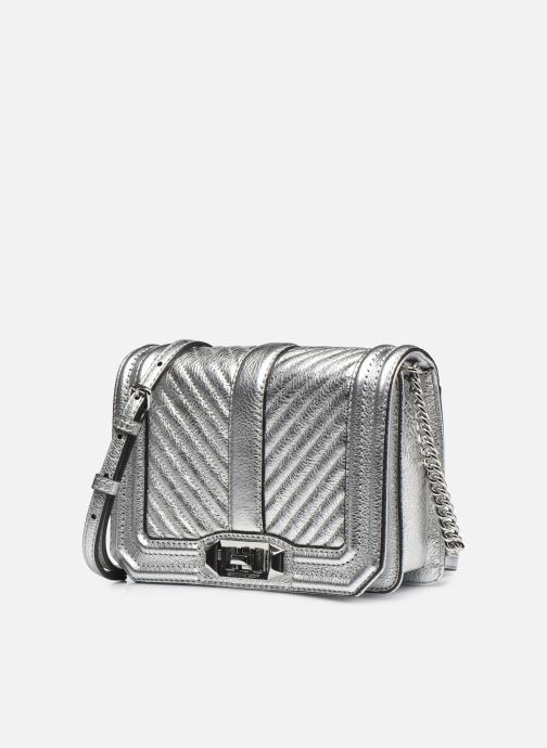 Sacs à main Rebecca Minkoff Chevron Quilted Small Love Crossbody Argent vue portées chaussures