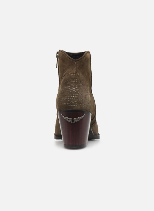 Ankle boots Zadig & Voltaire Molly Suede Green view from the right