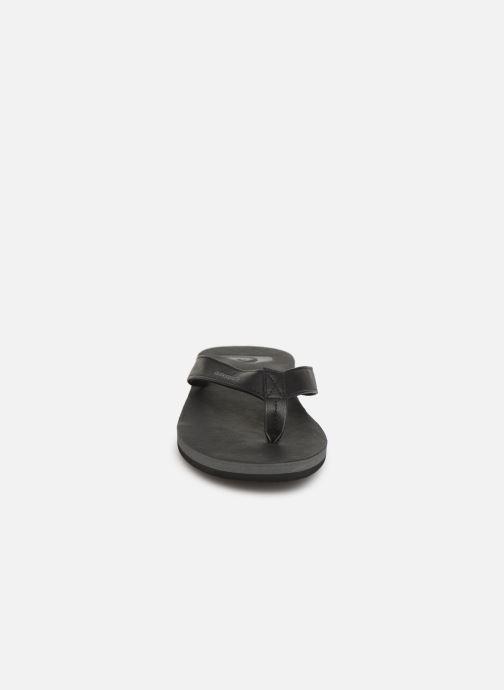 Zehensandalen Quiksilver Molokai Nubuck schwarz schuhe getragen