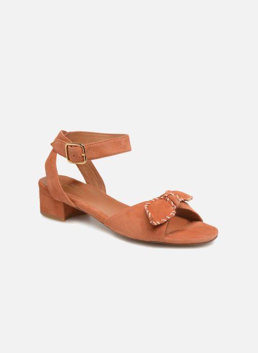 Sandals Schmoove Woman Vega Ankle Kid Suede Orange detailed view/ Pair view