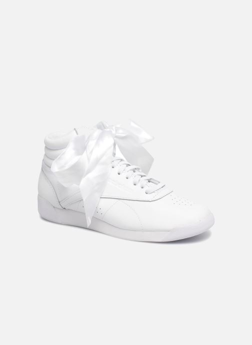 Baskets Reebok Freestyle Hi Satin Bow Blanc vue détail/paire