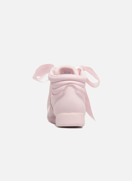 Trainers Reebok Freestyle Hi Satin Bow Pink view from the right