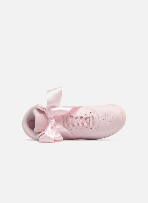 Trainers Reebok Freestyle Hi Satin Bow Pink view from the left