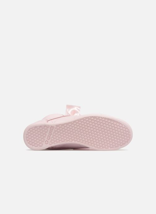 Trainers Reebok Freestyle Hi Satin Bow Pink view from above