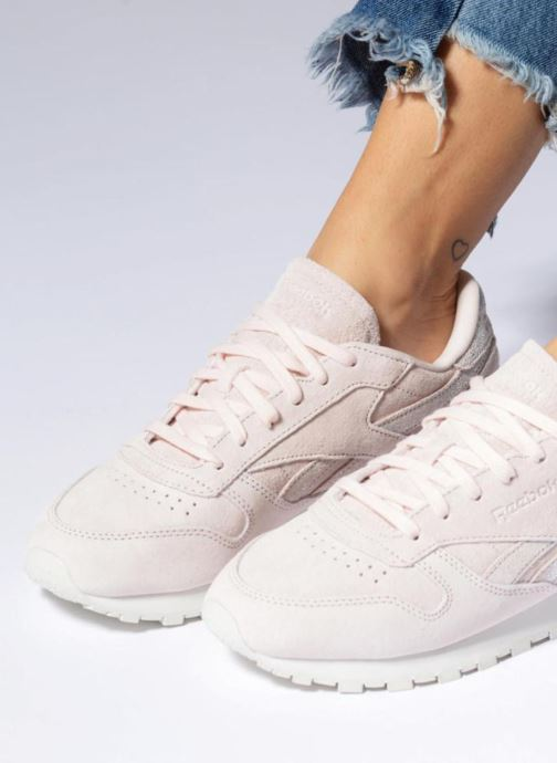 Baskets Reebok Classic Leather Shimmer Rose vue bas / vue portée sac