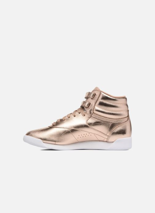 Baskets Reebok Freestyle Hi Metallic Or et bronze vue face