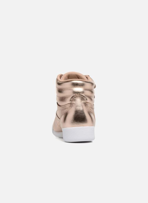 Baskets Reebok Freestyle Hi Metallic Or et bronze vue droite