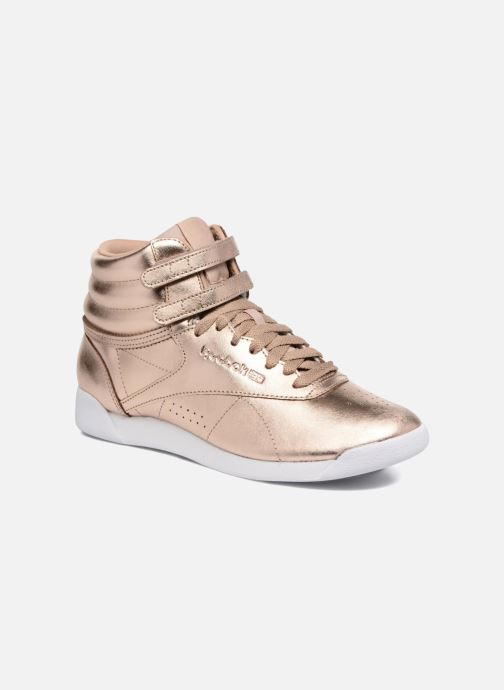 Baskets Reebok Freestyle Hi Metallic Or et bronze vue détail/paire