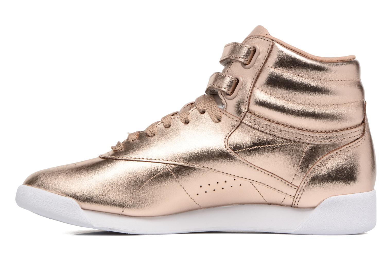 Baskets Reebok Freestyle Hi Metallic Or et bronze vue face