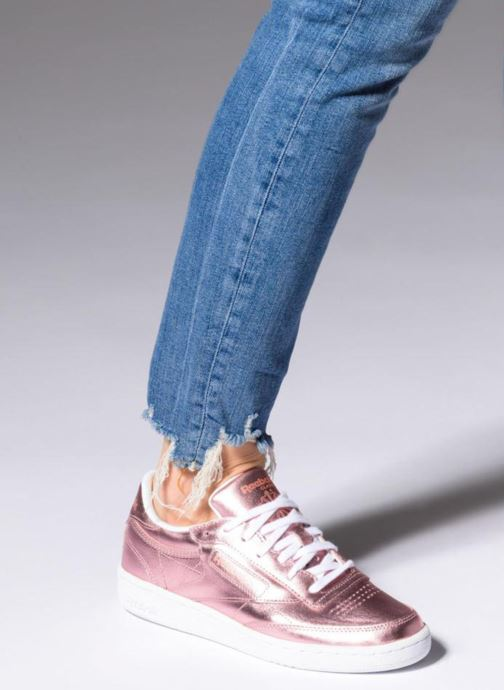 16375f3f2a858 Trainers Reebok Club C 85 S Shine Pink view from underneath   model view