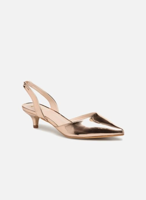 High heels I Love Shoes CALANE Bronze and Gold detailed view/ Pair view