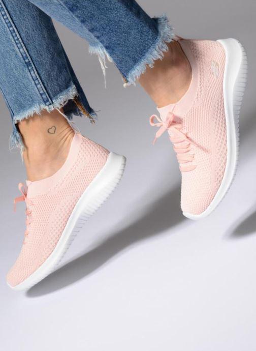 Sportschuhe Skechers Ultra Flex-Statements rosa ansicht von unten / tasche getragen