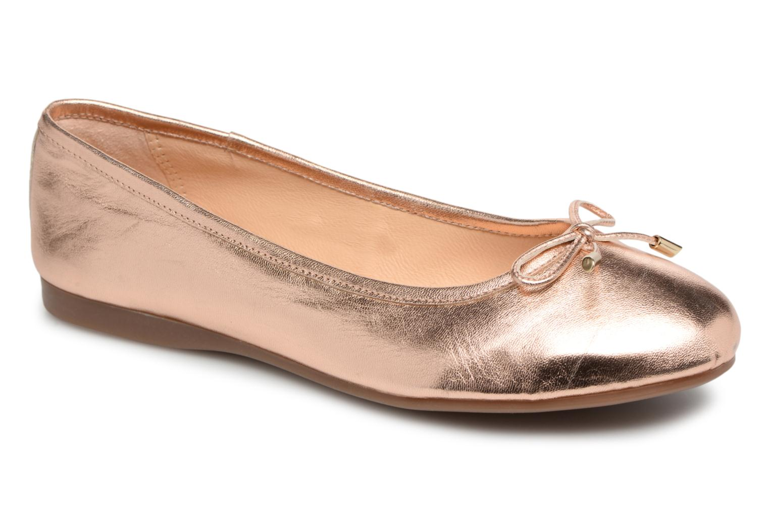 Ballet pumps Georgia Rose Lenova Soft Bronze and Gold detailed view/ Pair view