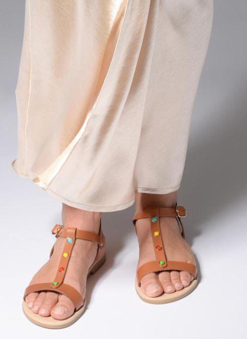 Sandales et nu-pieds Georgia Rose Miperlou Marron vue bas / vue portée sac