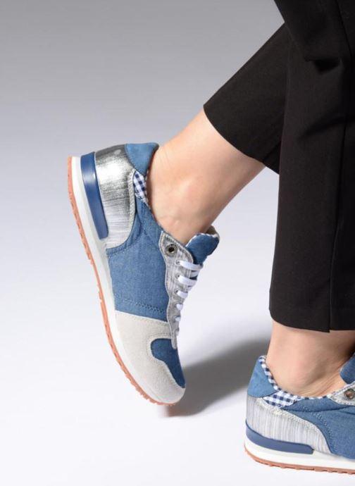 Baskets Pepe jeans Gable Sue Bleu vue bas / vue portée sac