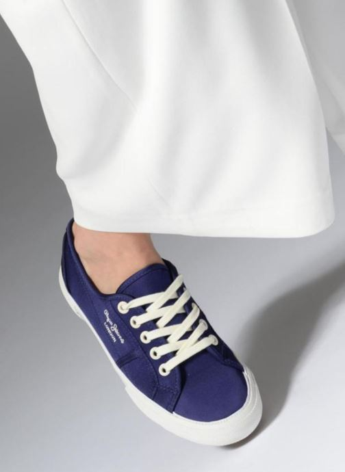 Trainers Pepe jeans Aberlady Satin Blue view from underneath / model view