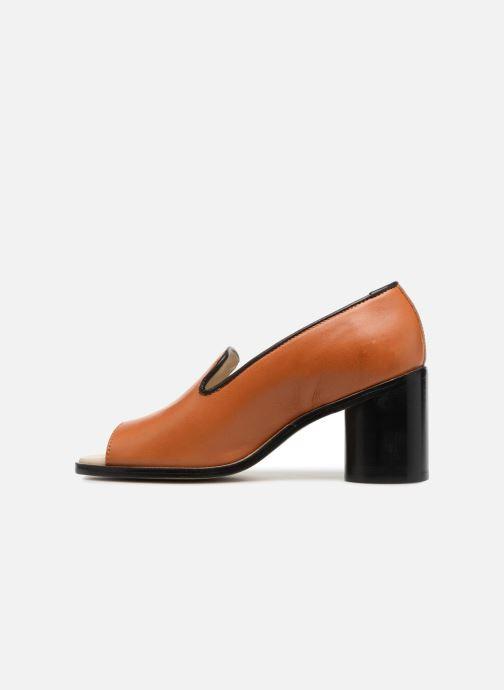 Zapatos de tacón Deux Souliers Loafer Peep Heel #1 Marrón vista de frente