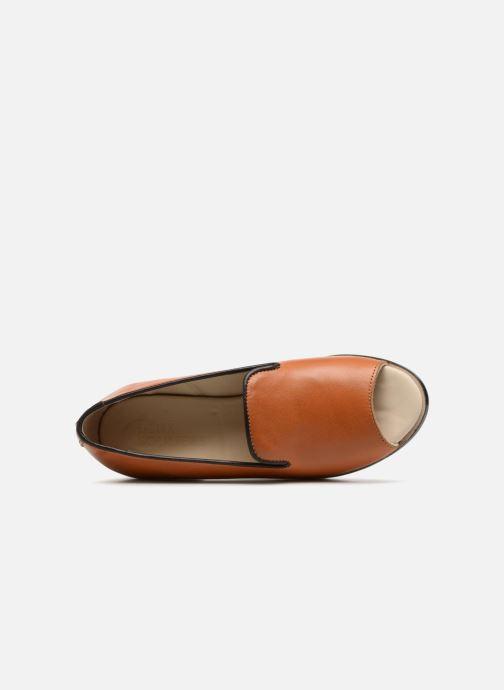 Zapatos de tacón Deux Souliers Loafer Peep Heel #1 Marrón vista lateral izquierda