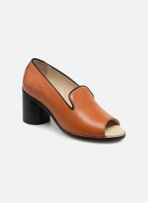 Escarpins Deux Souliers Loafer Peep Heel #1 Marron vue détail/paire