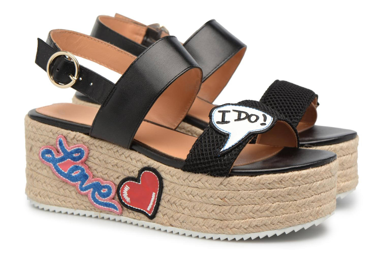 Espadrilles Love Moschino Funny Patches JA16087I15 Marron vue 3/4