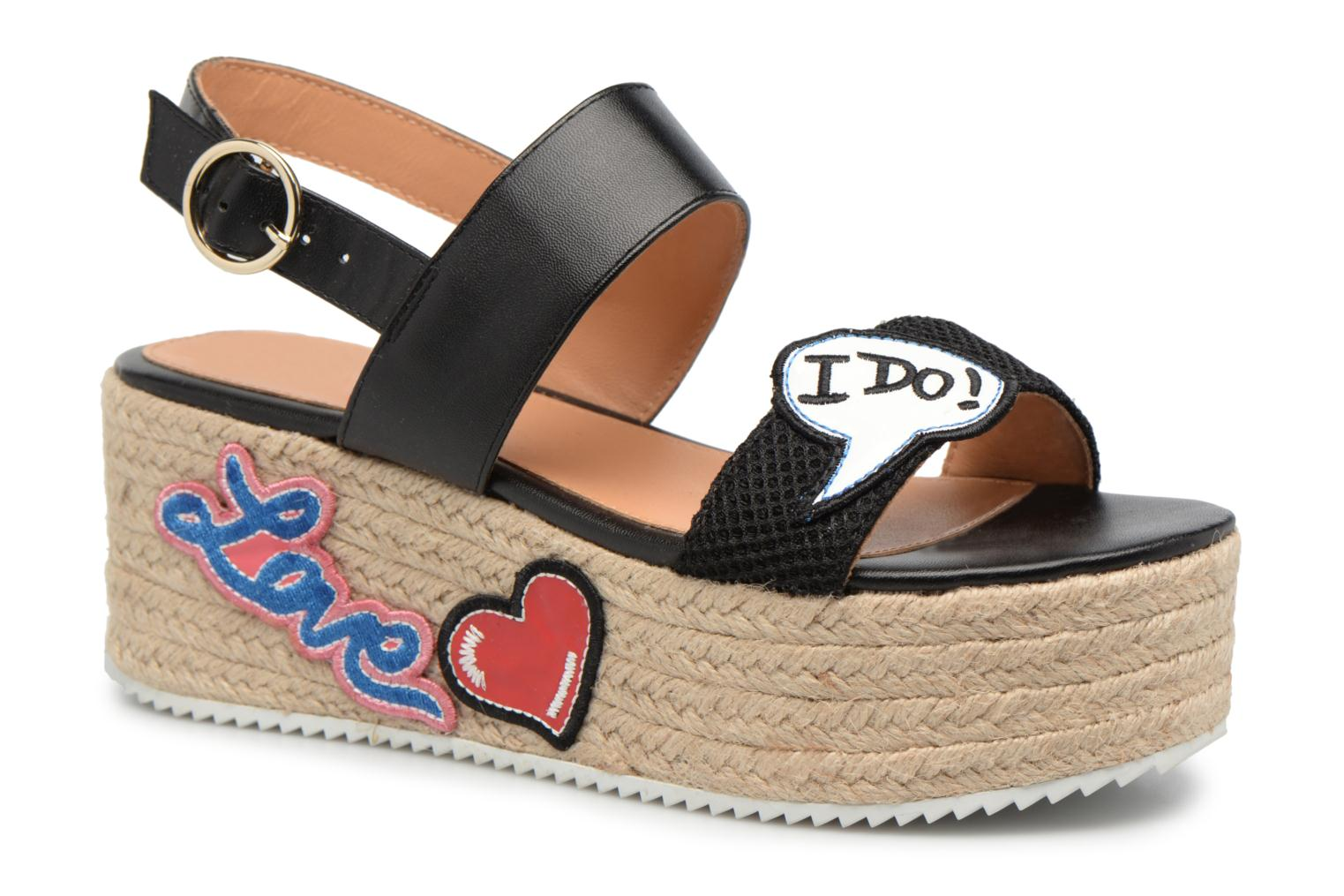 Espadrilles Love Moschino Funny Patches JA16087I15 Marron vue détail/paire