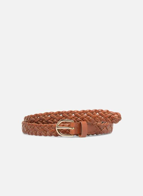 Belts Pieces Avery Leather Braided Slim Belt 1,90cm Brown detailed view/ Pair view