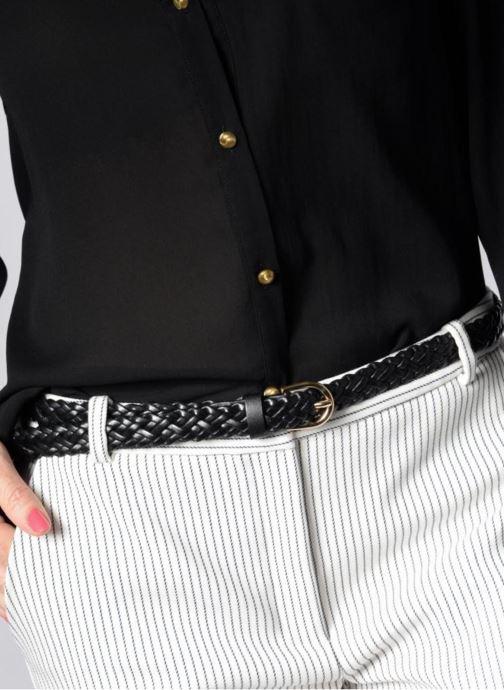 Riemen Pieces Avery Leather Braided Slim Belt 1,90cm Zwart boven