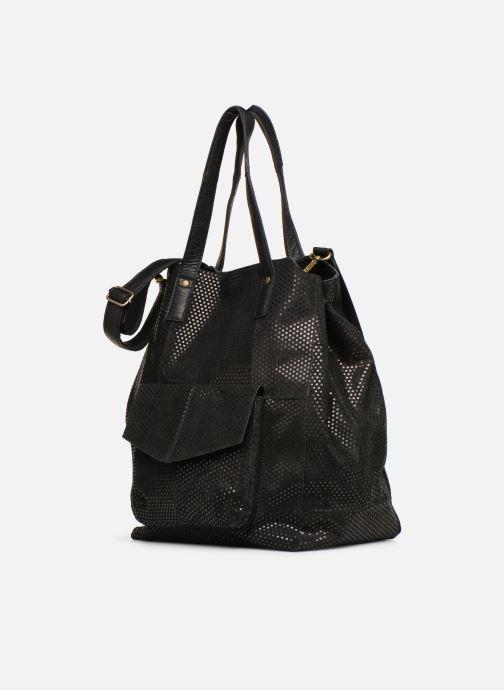 Bolsos de mano Pieces Gunn Suede Bag Negro vista del modelo