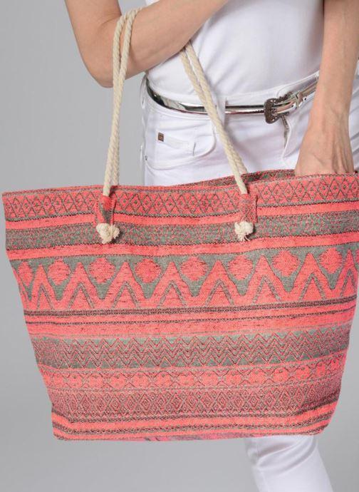 Handtaschen Pieces Grace Canvas Shopper rosa ansicht von unten / tasche getragen