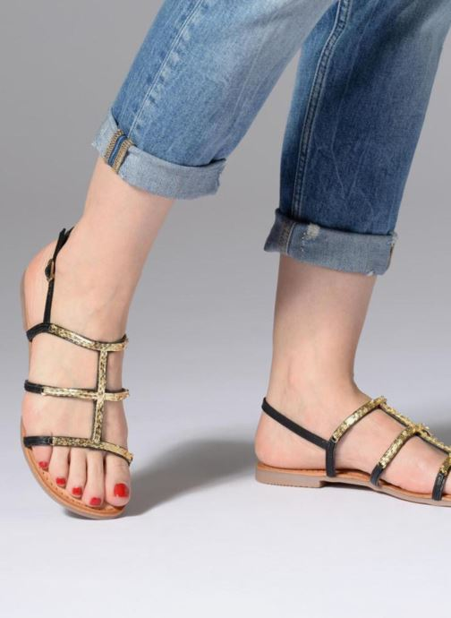Sandals Gioseppo Gafiro Bronze and Gold view from underneath / model view
