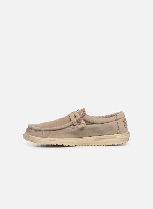 Sneakers DUDE Wally Washed Bruin voorkant